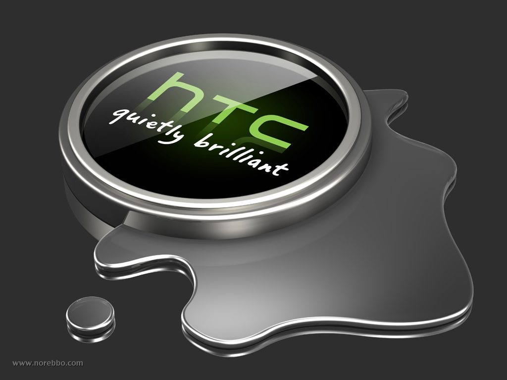 3d illustration of a silver and green HTC logo sitting in a puddle of silver liquid on a gray reflective surface