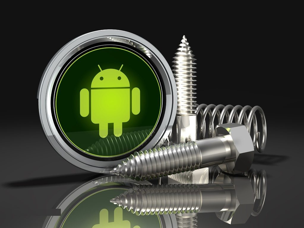 3d illustration of an assortment of chrome screws and springs arranged in front of an upright Google Android logo